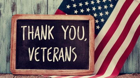 text thank you veterans in a chalkboard of the US