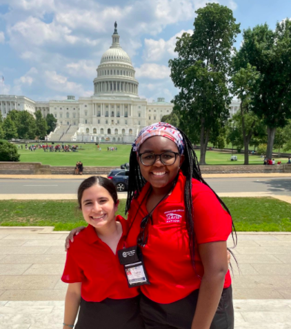 """Lauryn Hobbs (right) and Tina Majdinasab (left) stand in front of the U.S. Capitol. Hobbs and Majdinasab represented Texas at the 2021 American Legion Auxiliary Girls Nation civic training program. """"If you're a junior, love government, and have the opportunity to go to Girls State or Girls Nation, definitely take your chance. It's such an enriching experience,"""" Hobbs said."""